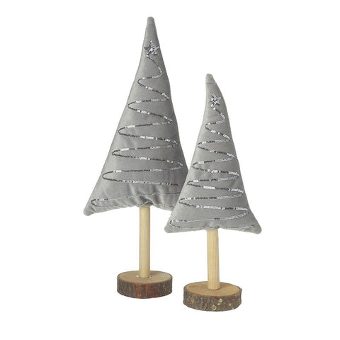 Fabric Grey Trees On Wooden Base Set