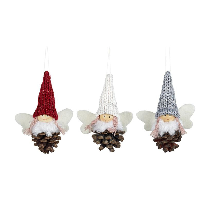 Mix Of 3 Hanging Pinecone Girls In Hats
