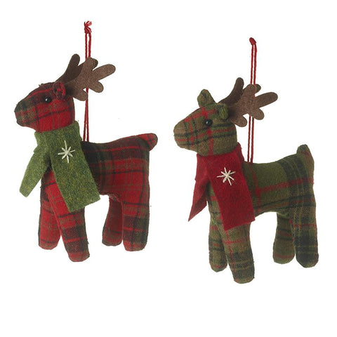 Hanging Fabric Tartan Reindeer Mix