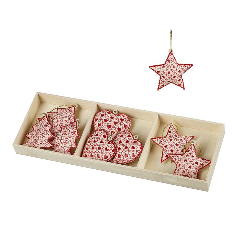 Red & White Tree Star Heart Hanging Decs