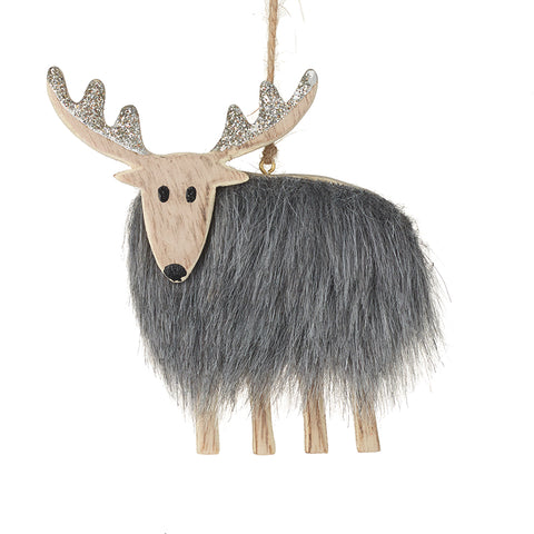 Wooden Reindeer with Fur Body Tree Decoration