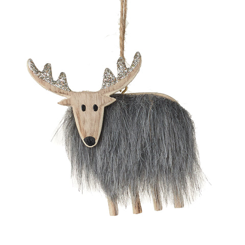 Wooden Reindeer with Fur Body Tree Decoration (Small)