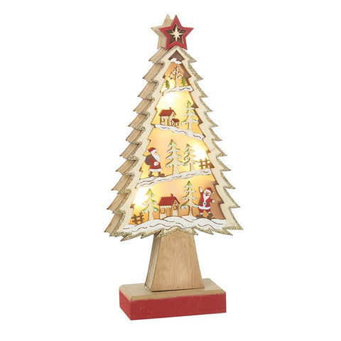 Wooden Light Up Christmas Tree Ornament