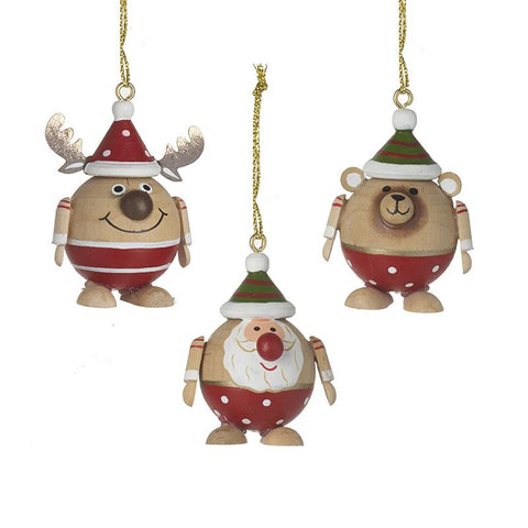 Mix Of 3 Wooden Character Baubles