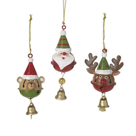 Bear, Deer & Santa Bell Mix Tree Decs