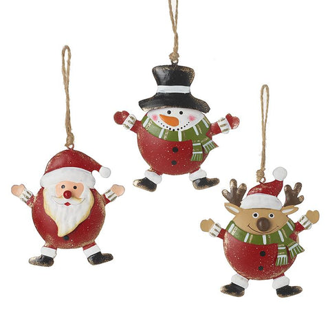 Metal Santa, Deer & Snowman Tree Decs