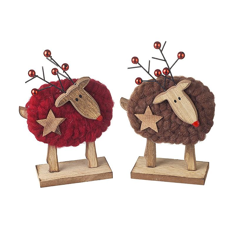 Standing Wood/Wool Deer Decorations