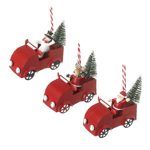 Santa Snowman & Deer Driving Cars Mix