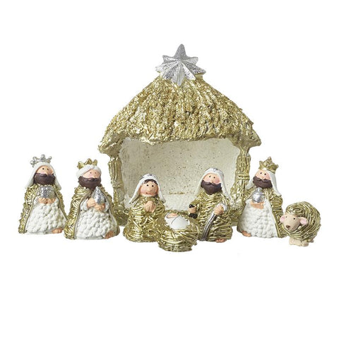 Gold & White Nativity Set