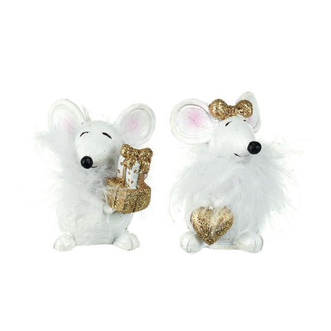 Sitting White & Gold Fluffy Mice Mix