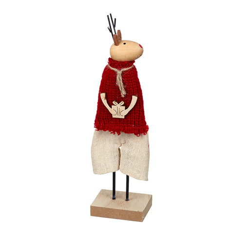 Standing Wooden Deer in Red Jumper