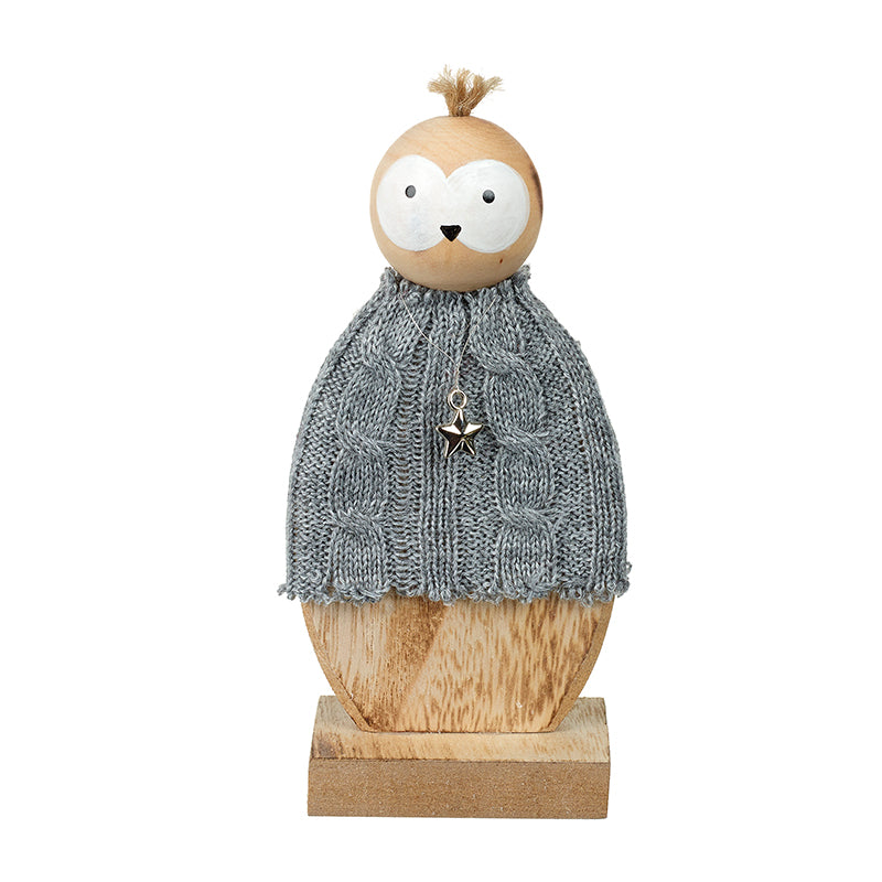 Small Standing Wooden Owl