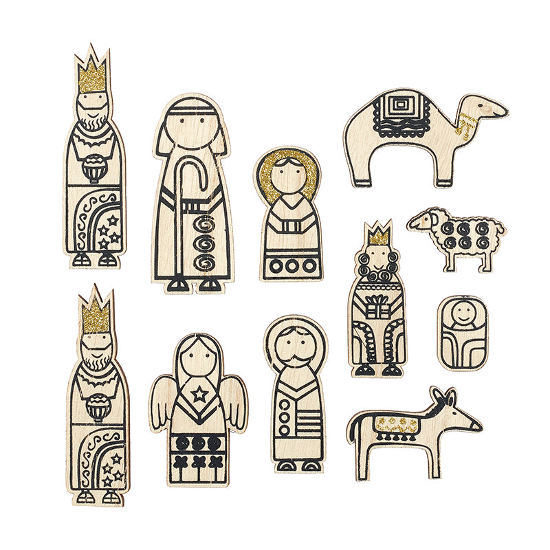 Wooden Cartoon Nativity Set