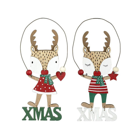 Hanging Wooden Red & Green Xmas Deer