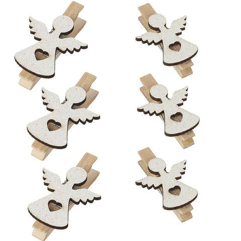 White Wooden Angel Pegs