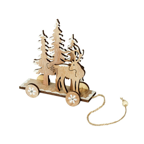Wooden Deer & Tree on Wheels