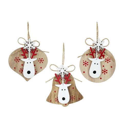 Wooden Hanging Decs With Moose Set 3