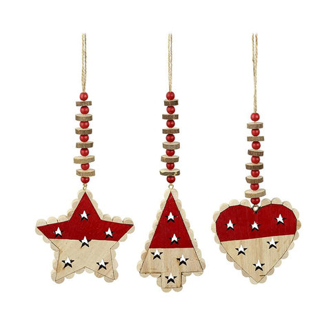 Star Heart Tree Hanging Decs With Beads