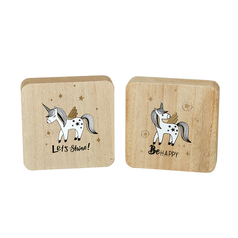 Wooden Unicorn Plaques Set