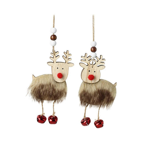 Wooden Reindeer With Red Bell Feet Mix