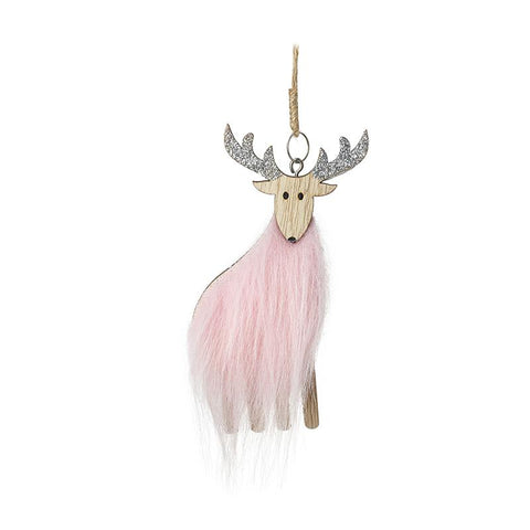 Wooden Deer With Pink Fur Body Tree Deco