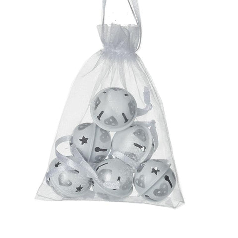 White Metal Bells With Hearts In Bag