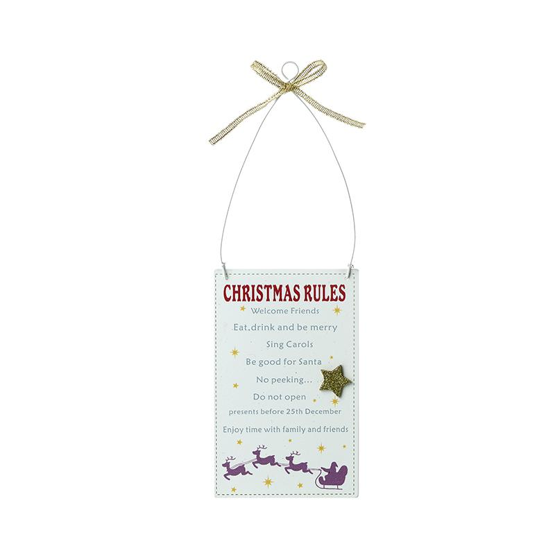 Christmas Rules Hanging Sign