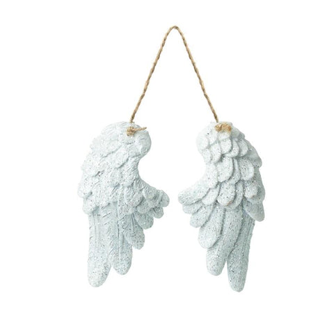 Hanging White Glitter Wings