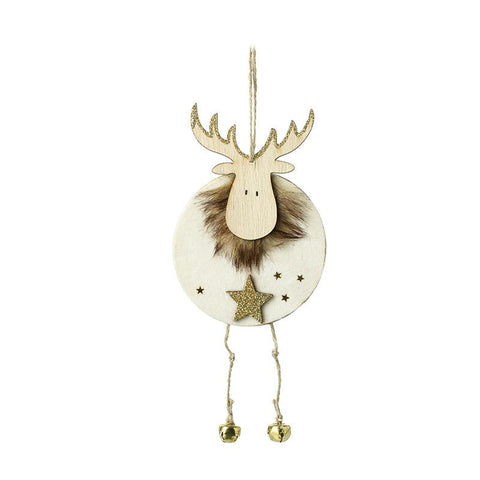Wooden Reindeer With Gold Star