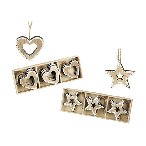 Mix Of 2Sets Wooden Star & Heart Hanger