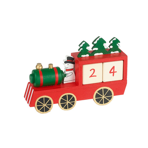 Wooden Train with Snowman Advent