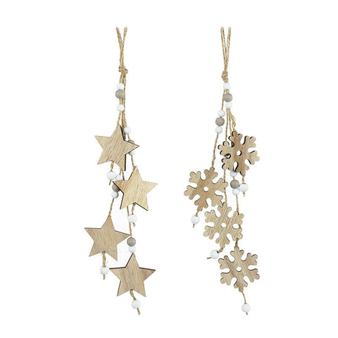 Wooden Hanging Snowflake & Star Mix
