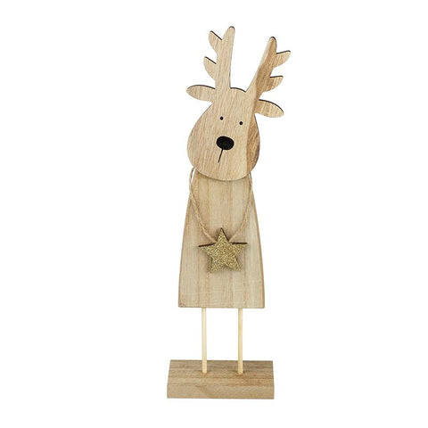 Wooden Reindeer Holding Gold Star Decor