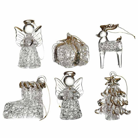 Hanging Glass Ornaments Set 6 Tree Deco