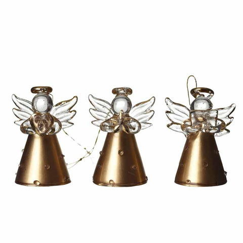 Gold Polka Dot Hanging Glass Angels S/3