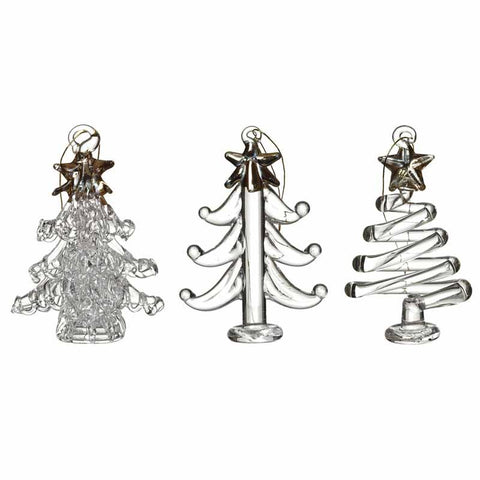 Hanging Gold & Clear Christmas Trees Set