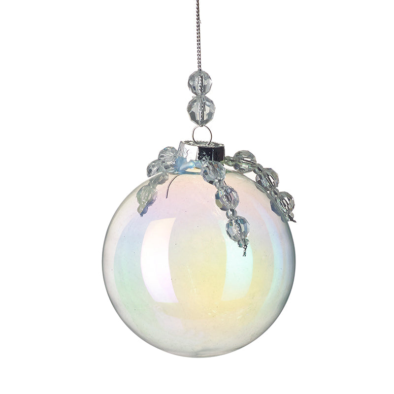 Pearlescent Glass Bauble with Beads