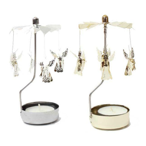 Metal Tea Light Angel Gold & Silver