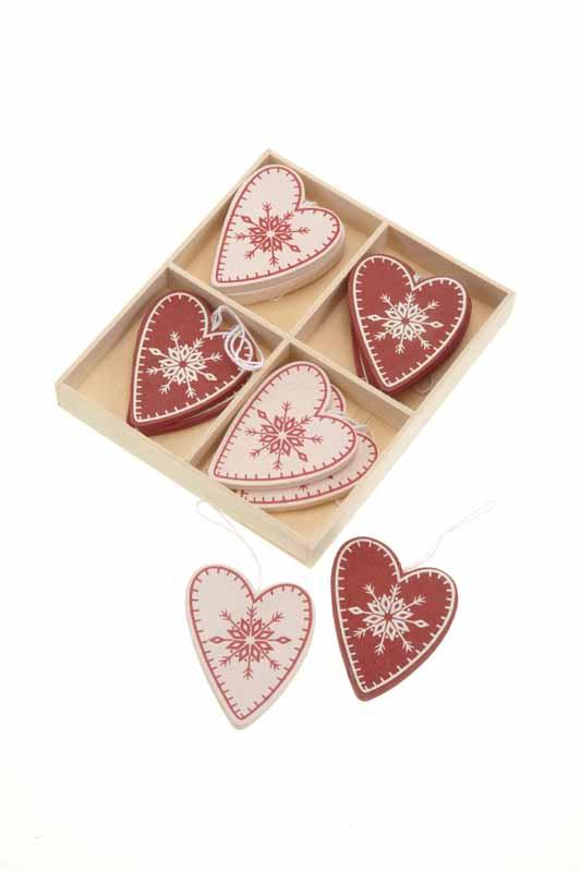 Wooden Red & Cream Hearts In Box