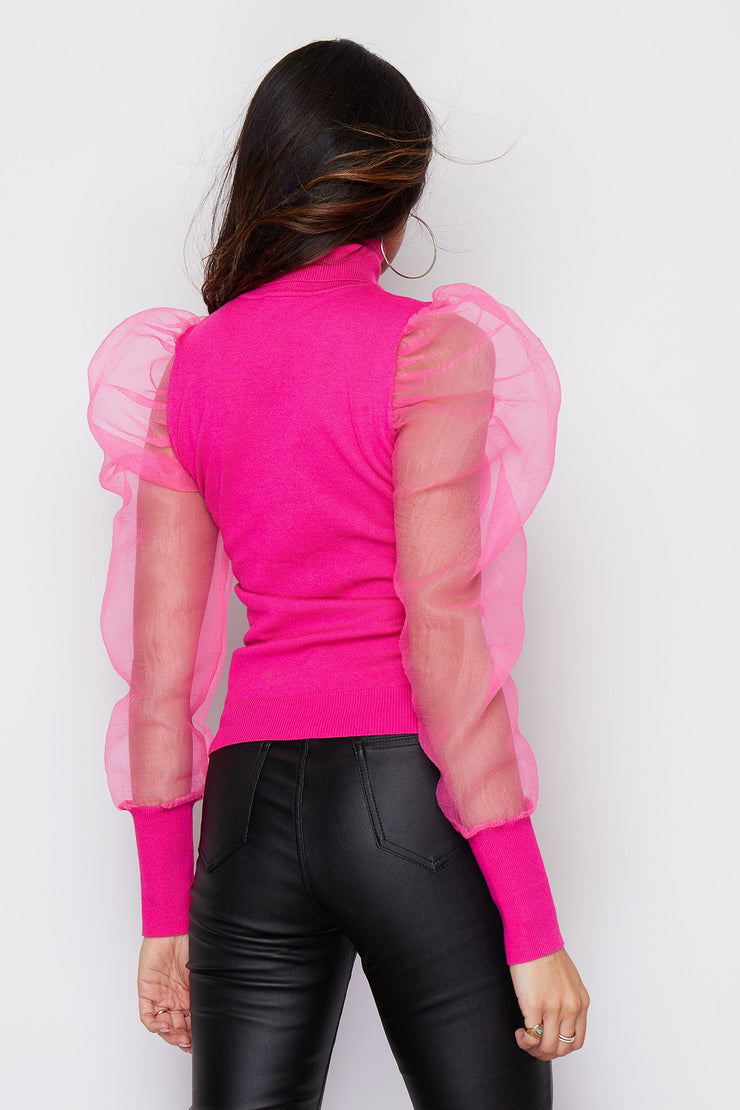 Michelle Hot Pink Puff Sleeves Polo Neck Jumper