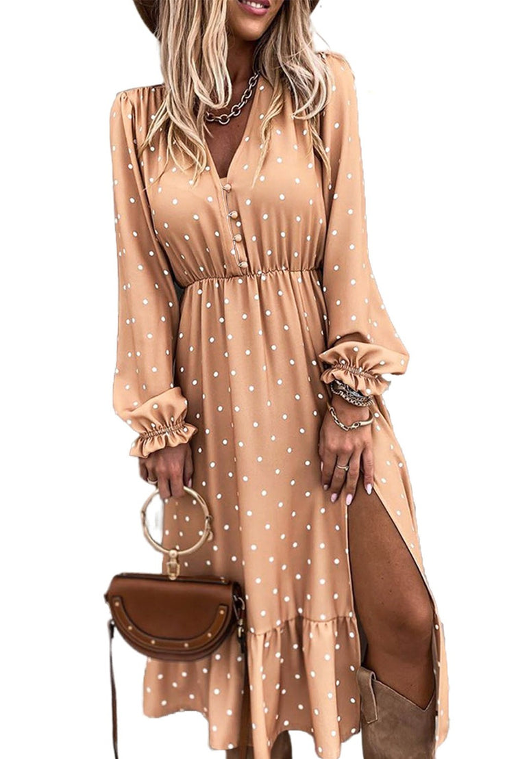 Ariana Nude Blush Polka Dot Button Midi Dress