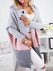 Isabella Grey and Pink Colour Block Cardigan