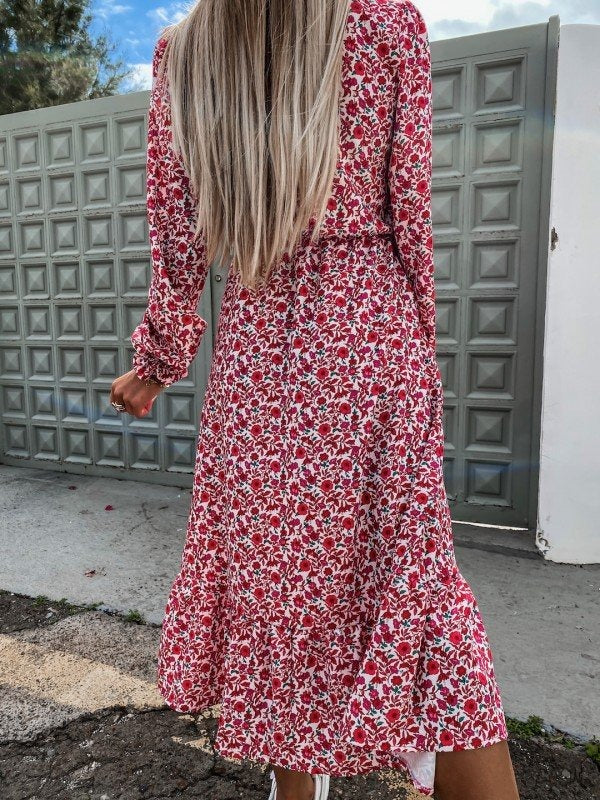 Sallie Red Floral Print Button Midi Dress