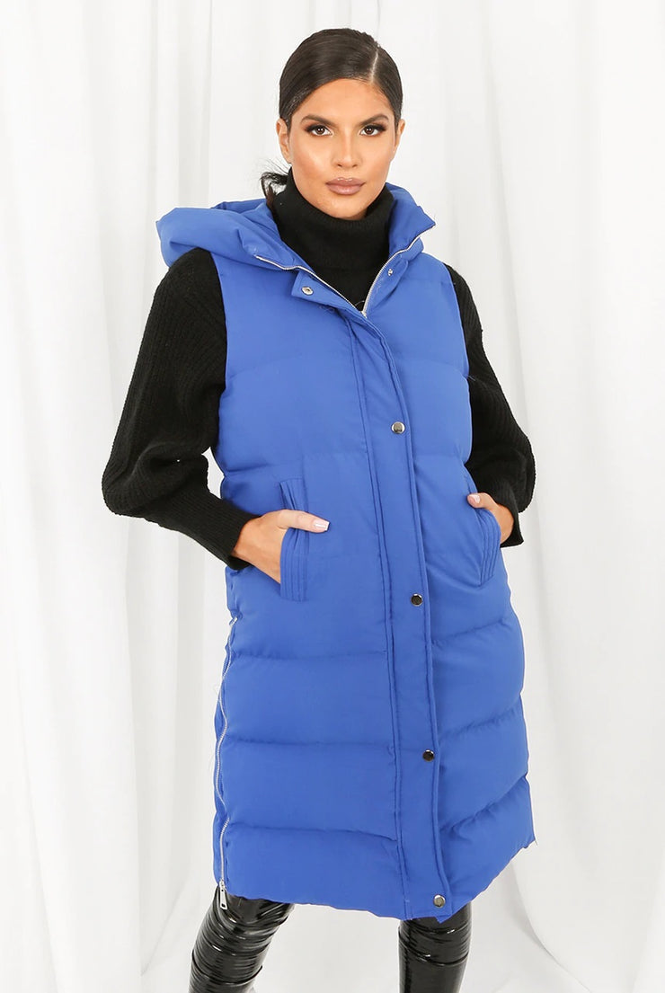 Susie Cobalt Blue Hooded Puffer Midi Length Gilet
