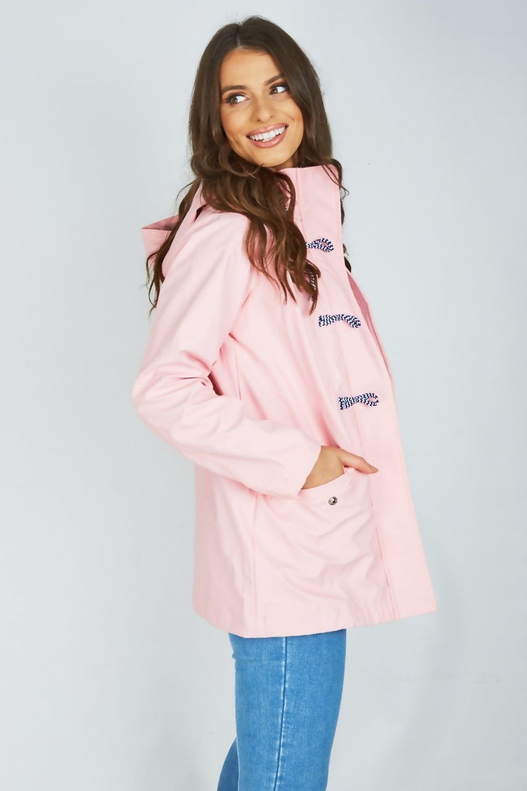 Maddie Pink Rain Mac with Toggles