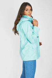Maddie Mint Rain Mac with Toggles