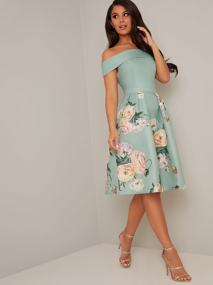 Vera Green Floral Print Bardot Midi Dress