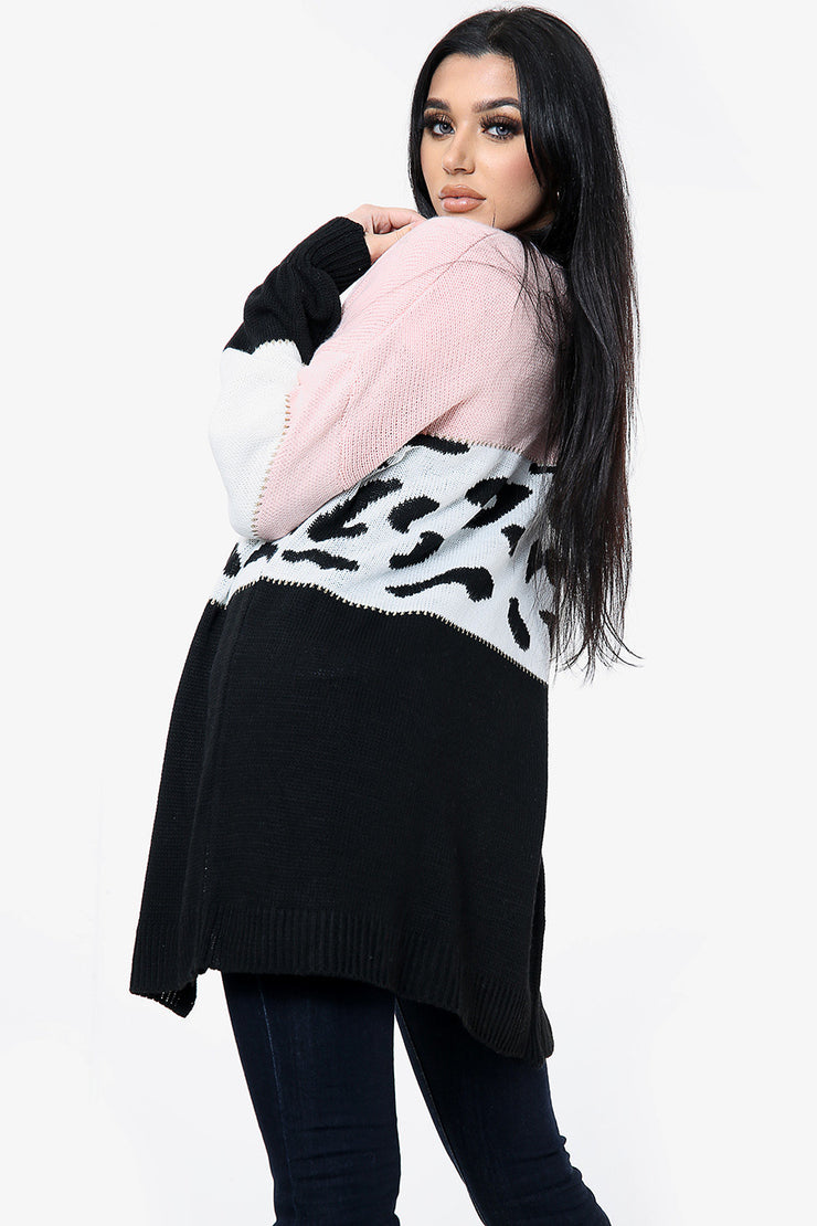 Thea Pink Knitted Stripe Leopard Cardigan