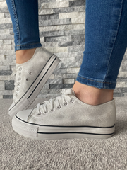 Camella Silver Canvas Style Lace Trainer