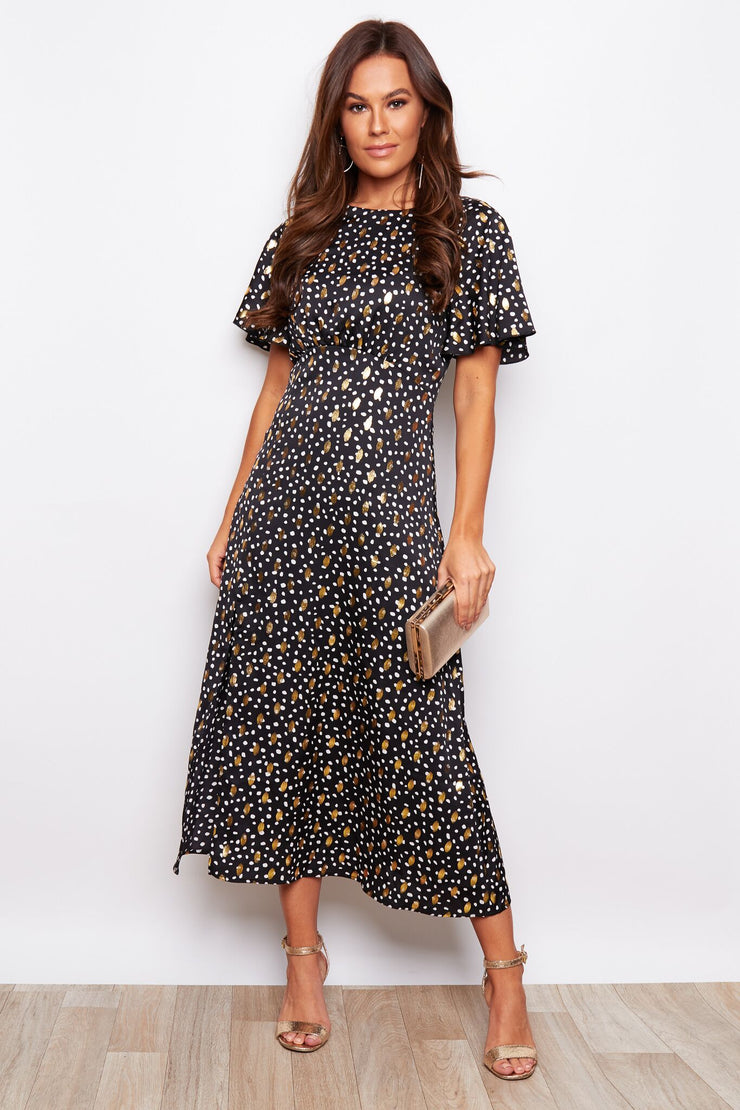 Jenna Black with Gold Foil Print Angel Sleeve Midi Dress